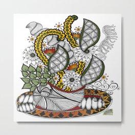 Zentangle Autumn Centerpiece Vase Metal Print