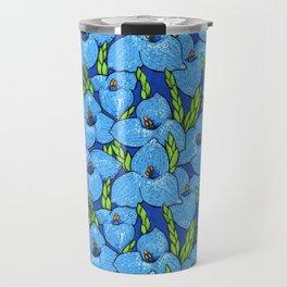 Blue Puya Flowers Botanical Floral Pattern Travel Mug
