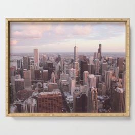 Downtown Chicago Skyline, Fine Art Photography Serving Tray