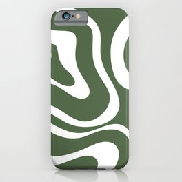 Retro Modern Liquid Swirl Abstract Pattern in Hunter Green and White iPhone Case