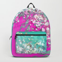 Pink and Turquoise Abstract Digital Photographic Floral Art Backpack