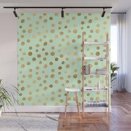 Mint Green & Gold Polka Dot Pattern Wall Mural