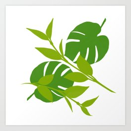 Simply Tropical Leaves with White background Art Print