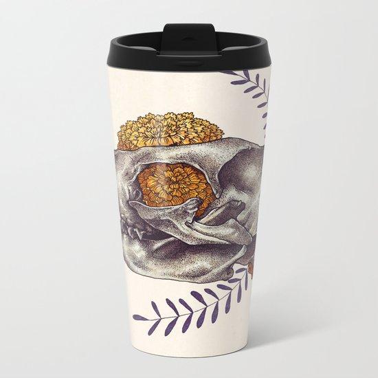Inktober Cat Skull Metal Travel Mug