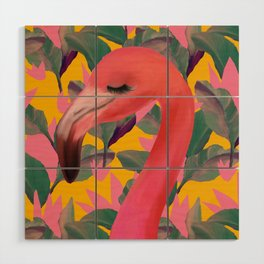 Flamingo with retro Luxe Lilies Wood Wall Art
