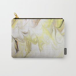 Golden Yellow Feather Water Marbling Carry-All Pouch