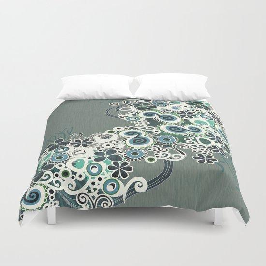 Diagonal flower – blue and green fiber Duvet Cover