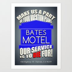 Bates Motel Advertisement  |  Alfred Hitchcock Art Print