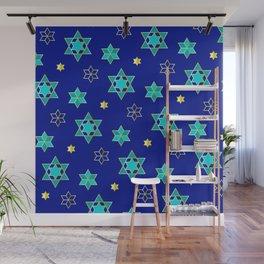 Hanukkah Jewish Star Geometric Pattern in Blue Contemporary Wall Mural