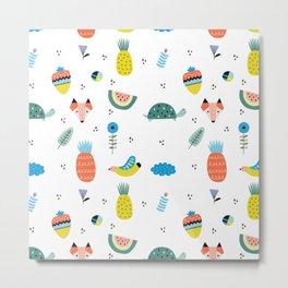 Fox, Pineapple & Strawberry pattern Metal Print