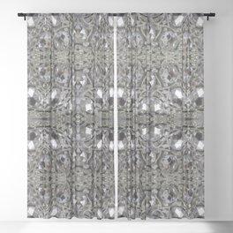 girly chic glitter sparkle rhinestone silver crystal Sheer Curtain