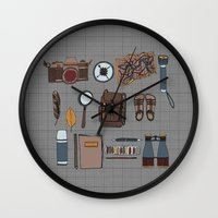kit king Wall Clocks featuring Explorers kit by Laura Barnes
