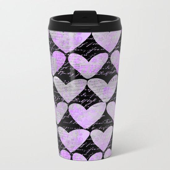 pink heart typography pattern Metal Travel Mug