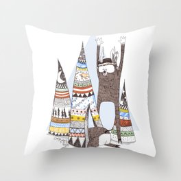 El Cazador y la Serpiente. Throw Pillow