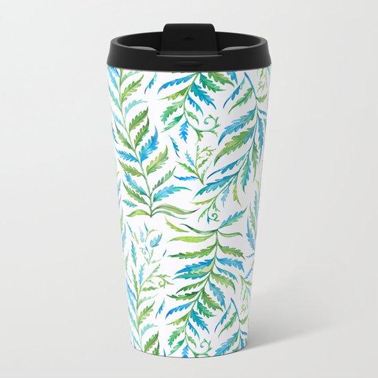 Leaves Green And Blue Metal Travel Mug
