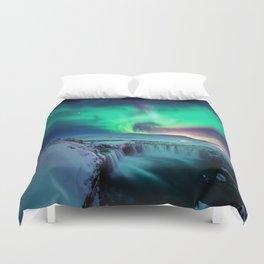 Aurora Borealis Over A Waterfall Duvet Cover