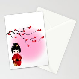 Japanese kokeshi doll at sakura blossoms Stationery Cards