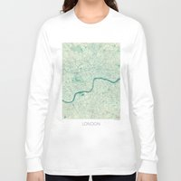 london map Long Sleeve T-shirts featuring London Map Blue Vintage by City Art Posters