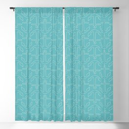 Beach Series Aqua - White Anchors on turquoise background Blackout Curtain