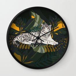 Resting White Tiger In Jungle Wall Clock