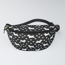 White Scottish Terriers (Scottie Dogs) & Hearts on Black Background Fanny Pack