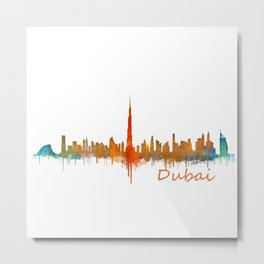 Dubai, emirates, City Cityscape Skyline watercolor art v2 Metal Print