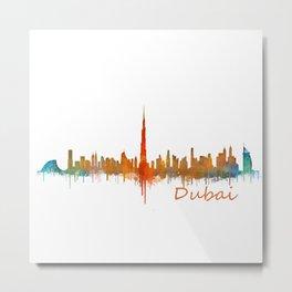 Dubai, emirates, City Cityscape Skyline watercolor art v2 Metal Print