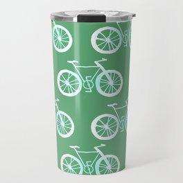 Bike Pattern White and Green Travel Mug