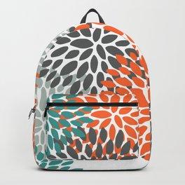 Floral Blooms, Teal, Orange, Charcoal, Gray Backpack
