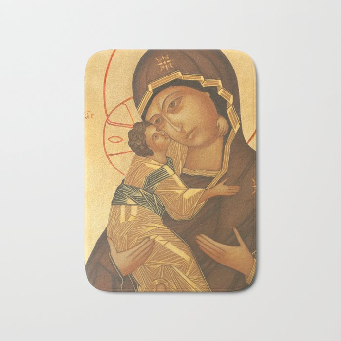 Orthodox Icon of Virgin Mary and Baby Jesus Bath Mat