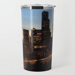 Seattle Skyline Sunset City Travel Mug