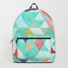 Modern abstract pink aqua turquoise watercolor geometrical Backpack