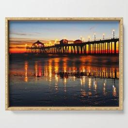 Sunset ~ Huntington Beach Pier ~ Huntington Beach Pier CA   Serving Tray