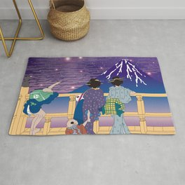 Hokusai People Seeing Mt. Fuji under the Stars Rug