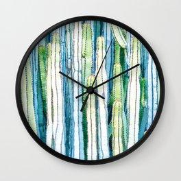 Cactus Blue Green Colors H Wall Clock