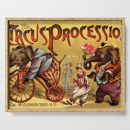 1888 Vintage Circus Elephant Procession Vintage Poster Serving Tray