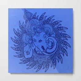 Ganesha Lineart Blue Metal Print