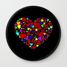 HEART WITH MULTICOLOR HEARTS Wall Clock