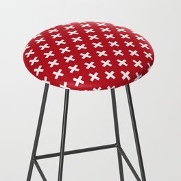 Criss Cross | Plus Sign | Red and White Bar Stool
