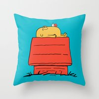 snoopy Throw Pillows featuring Snoopy Time! by penguinline