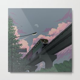 Moonrise Train Metal Print