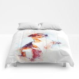 Watercolor Jack Russell Handshake Comforters