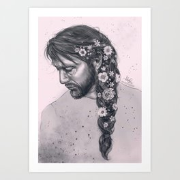 Braid and flowers Art Print