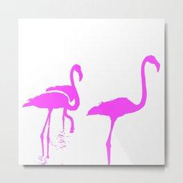 Three Flamingos Pink Silhouette Isolated Metal Print