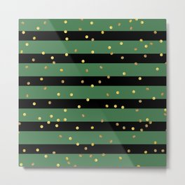 Christmas Golden confetti on Black and Green Stripes Metal Print