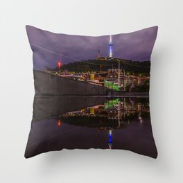 Seoul Tower Reflection Throw Pillow
