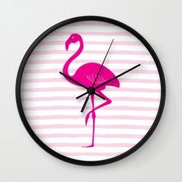 Flamingo & Stripes - Pink / Pink Wall Clock