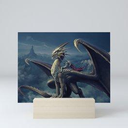 Stunning Amazing Warrior Riding Winged Fairytale Reptile Monster UHD Mini Art Print
