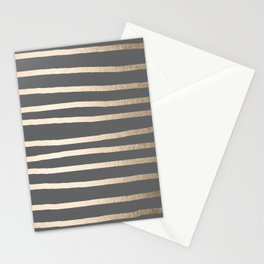 Simply Drawn Stripes White Gold Sands on Storm Gray Stationery Cards