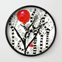 Pop of Color, Red Balloon Zendoodle in Fanciful Forest Wall Clock